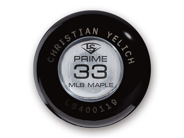 Christian Yelich Custom Knob Medallion on bat