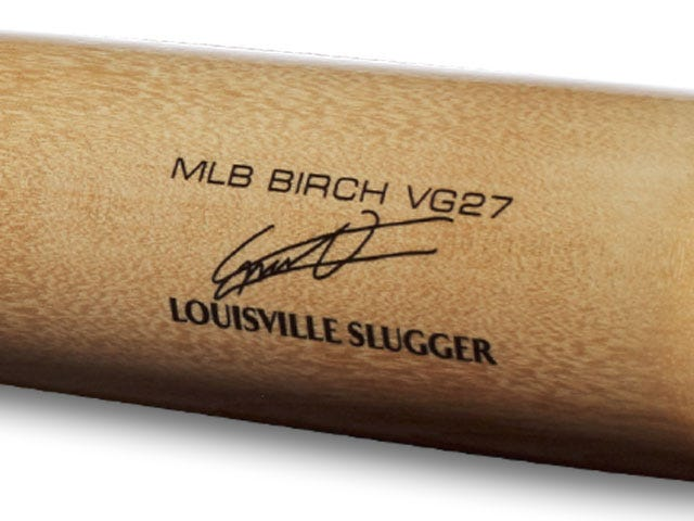Lousiville Slugger end branding on baseball bat