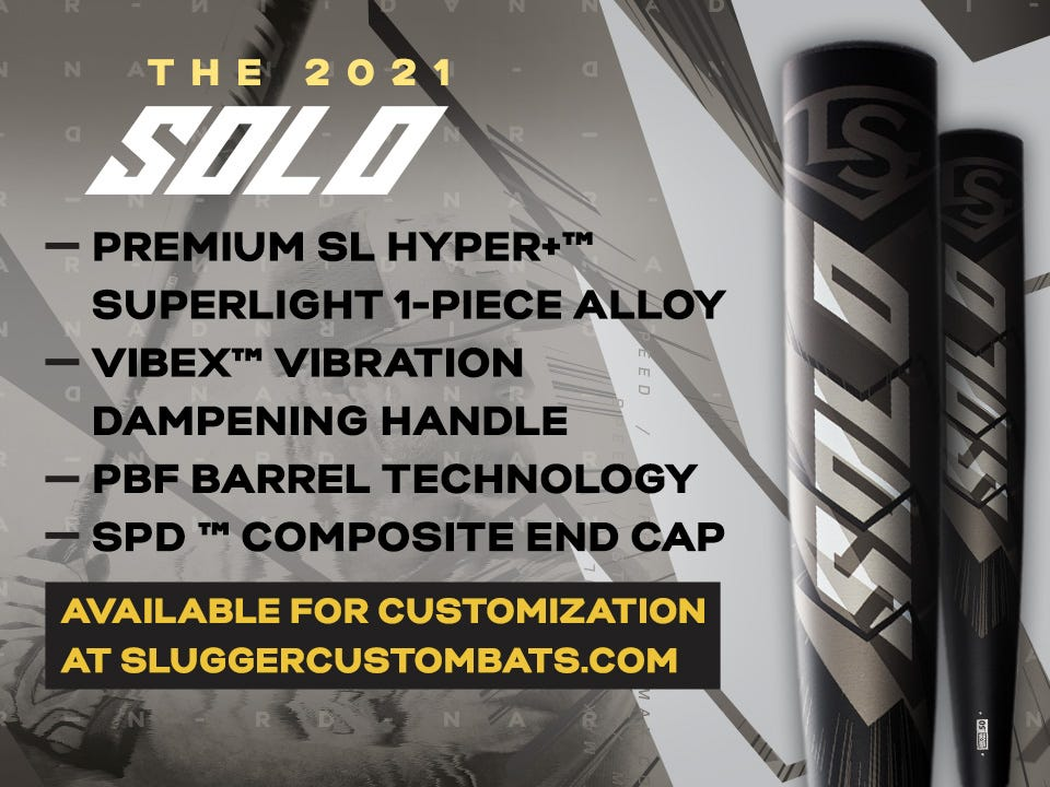 2021 Solo Premium SL Hyper+ Superlight 1-piece allow barrel, dampening handle, SPD composite end cap. Click to learn more.