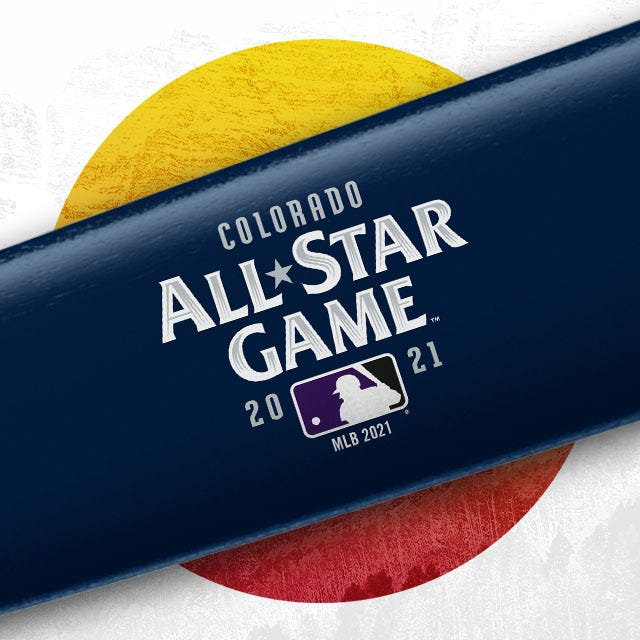 Image of blue bat with All-Star game logo