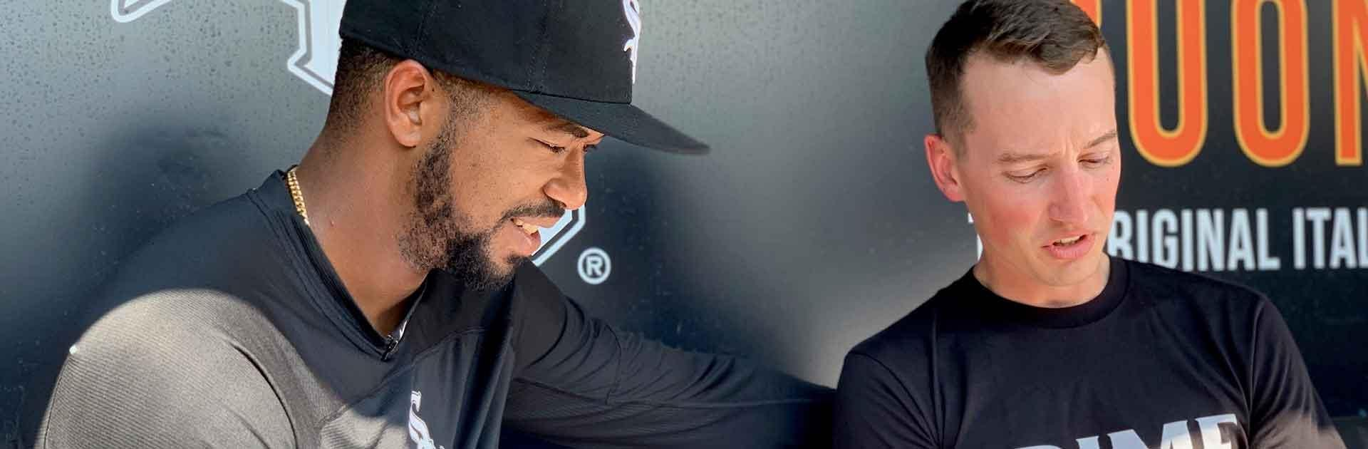 Eloy enjoying looking at his pro prime  bat design