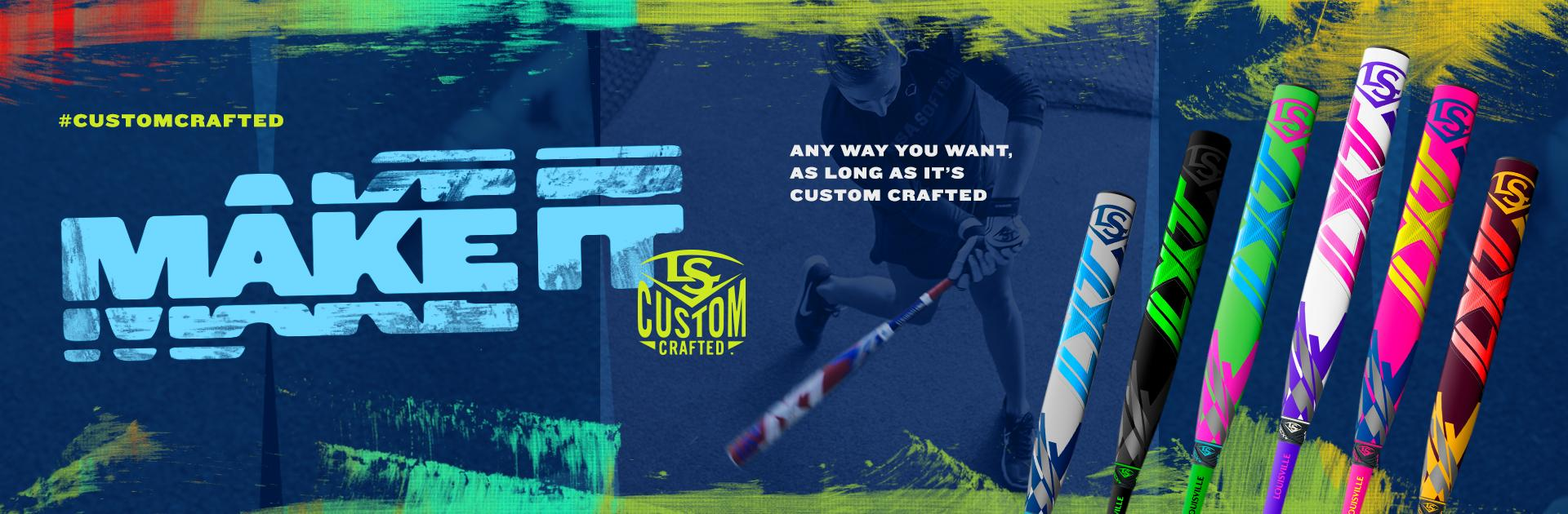 Any way you want it, as long as its custom crafted. 2021 Slugger Custom Fastpitch bats Now Available.