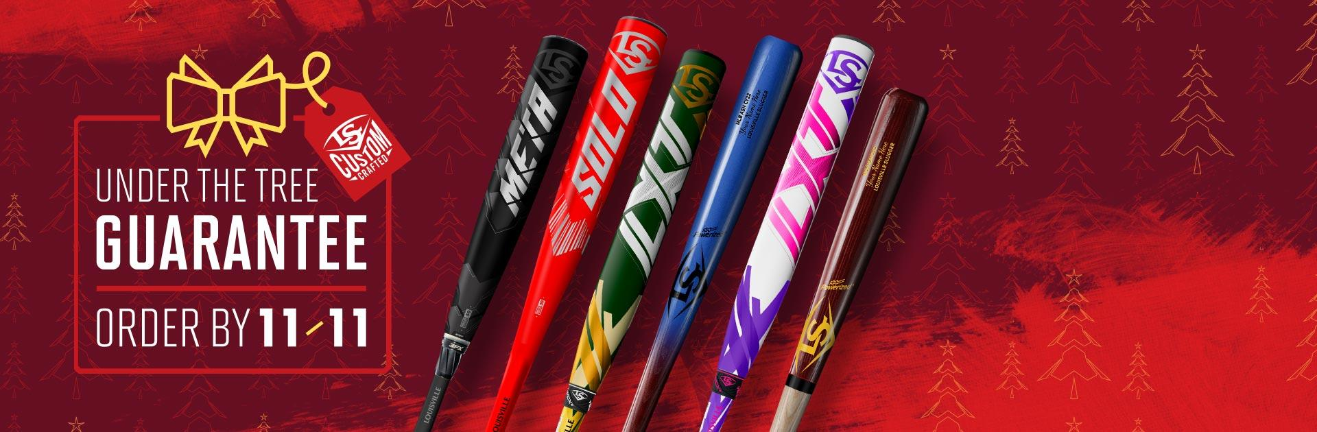 Order Slugger Custom bats by November 11th for guaranteed delivery by Christmas